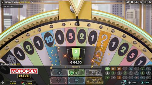 Wheel Lands on Number 2 applying 64x Multiplier