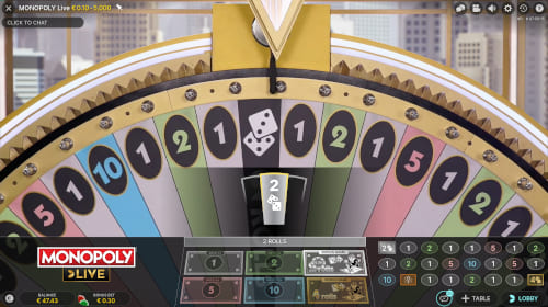 Monopoly Live Wheel Lands on 2 Rolls