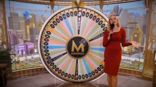 Monopoly Live Wheel landing on 2 Rolls segment