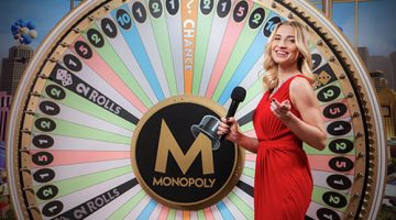 Monopoly Live host spinning the wheel